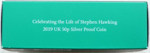 2019 Royal Mint Stephen Hawking 50p Fifty Pence Silver Proof Coin Box Coa