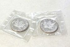 1989 Canadian Maple Leaf Silver Bullion Coin,2 Troy Ounce. TWO COINS 5 Dollar