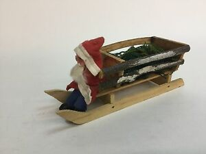 Vintage-St-Nicholas-Santa-Claus-Candy-Container-Christmas-On-Wood-Sled-Germany