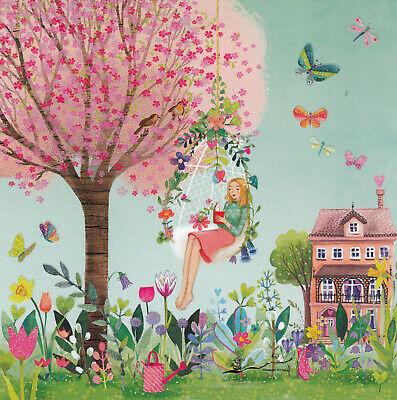 Mädchen mit Buch und Katze in einer Nelke Karte Mila Marquis Effektlack