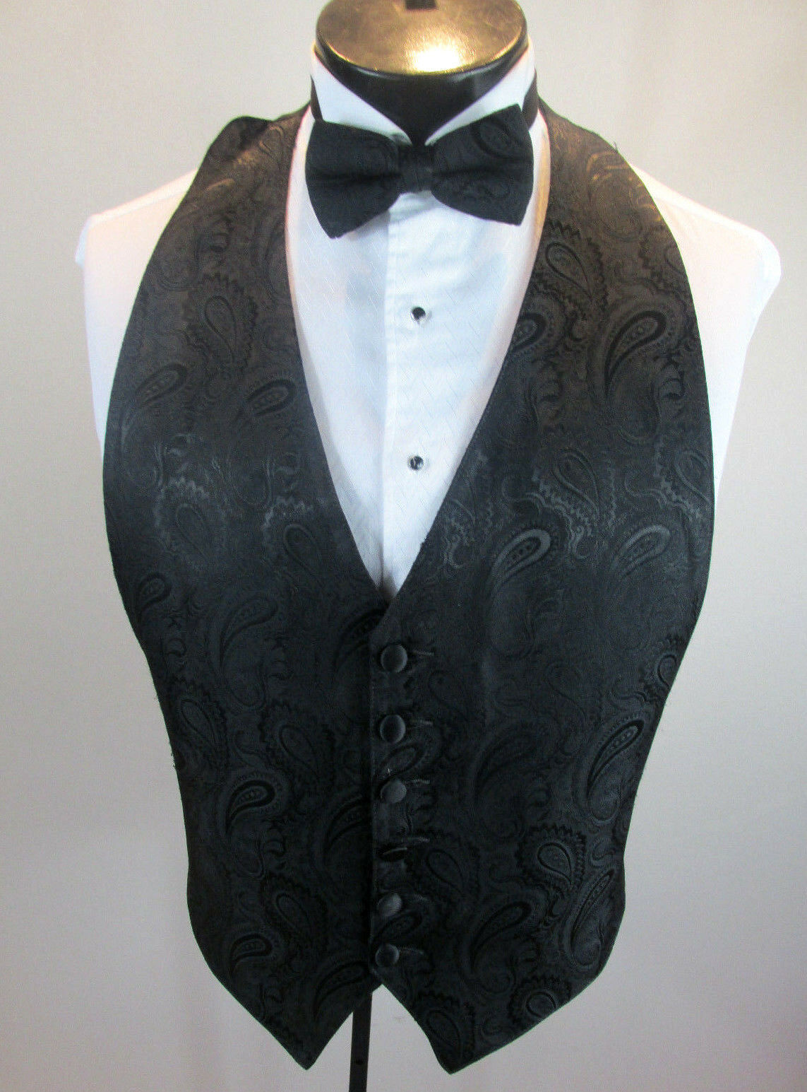 Mens Formal Vest Black Paisley Design Matching Tie Included XL B3