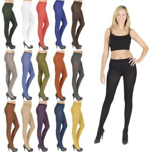 b99cb890ba7a2 Womens Opaque Tights 40 & 100 Denier plus size black nude white V1 ...