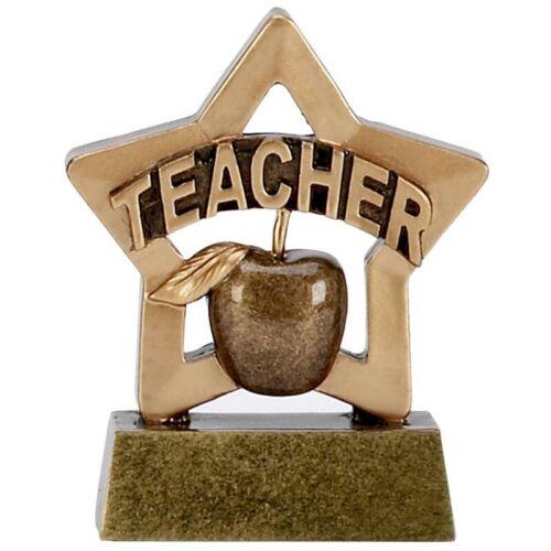 TEACHER TROPHY APPLE TUTOR CHILDREN THANK YOU ENGRAVED FREE MINI STAR TROPHIES