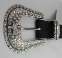 Justin Black Santa Maria Cross Leather Belt Size 36 C20883