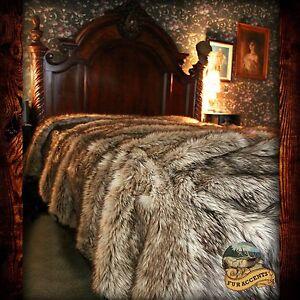 Light Wolf Bedspread Plush Faux Fur Bear Skin Sheepskin