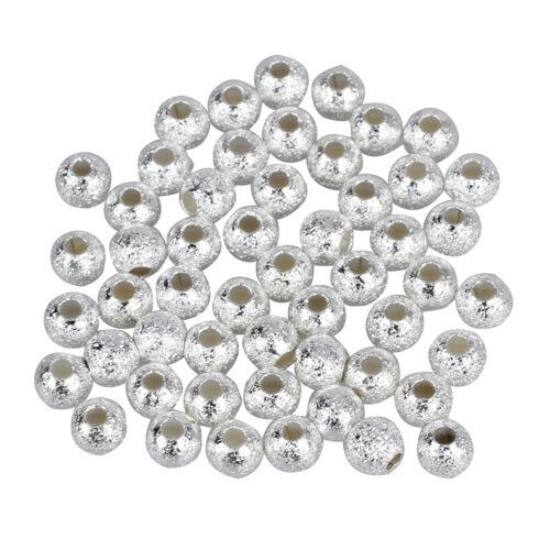 50 4mm versilberte runde Sternenstaub Perlen L1C5