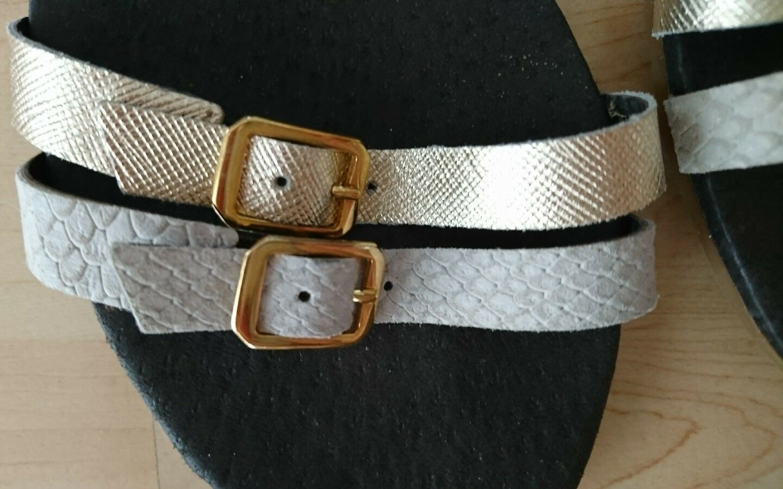 Sandalen 37 Leder mit passender passender mit Handtasche 123709