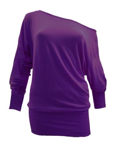 Donna Batwing Baggy Top Maglione maglia donna manica lunga Off spalla Top 8-22