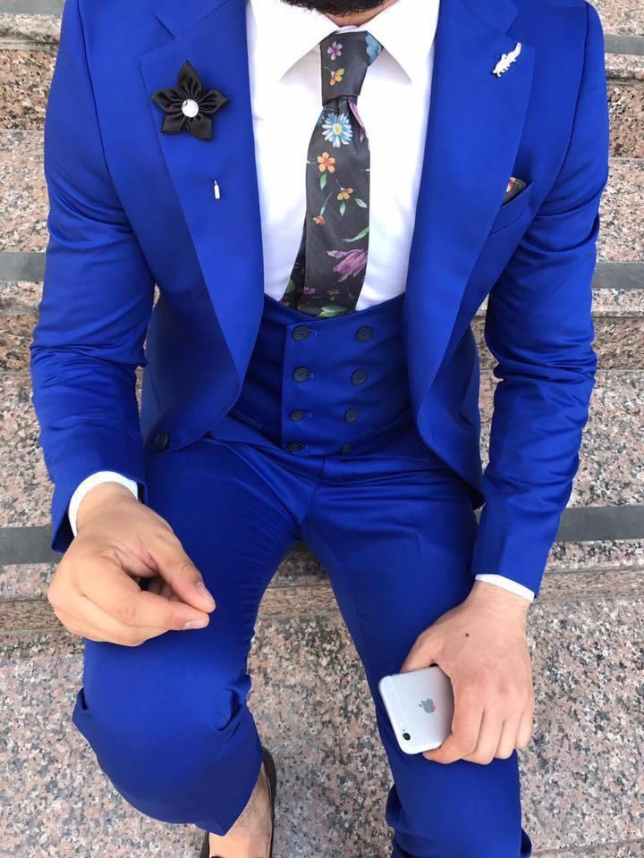 DESIGNER BUSINESS SUIT ROYAL KÖNIGS blue HERRENANZUG SAKKO HOSE WESTE TAILLIERT
