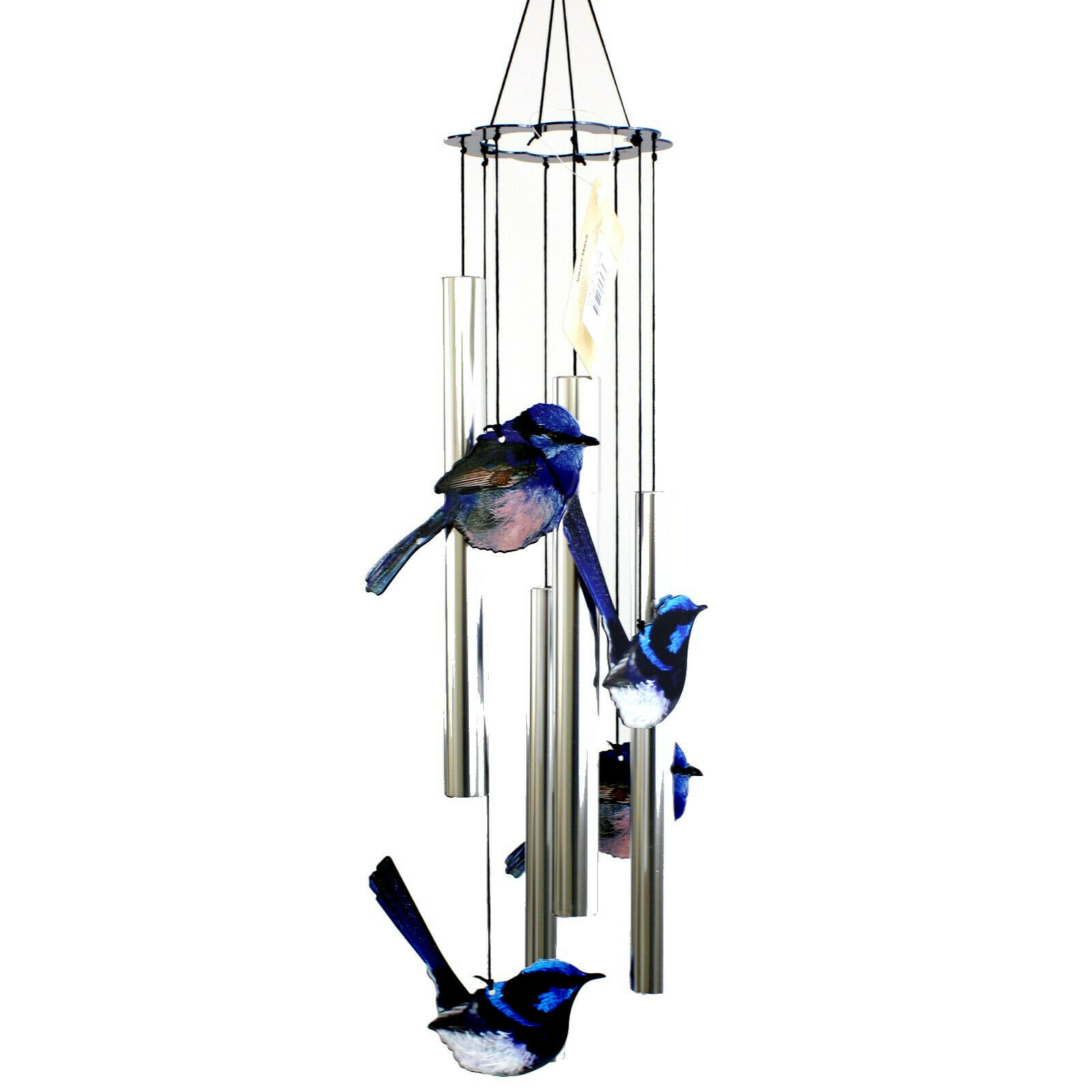 Blue Fairy Wrens Australia Fauna Metal Wind Chime 4 Birds 4 Tubes Natures Melody
