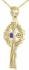 14k gold irish celtic knot cross chatham created alexandrite pendant image is loading 14k gold irish celtic knot cross chatham created aloadofball
