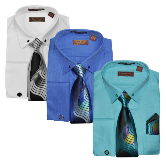 Henri Picard Men's Fashion Combo Shirt w/ Tie, Hanky, Cuff Links & Collar Links