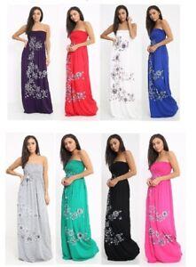 New Ladies Floral Printed Sheering Maxi Boob Tube Bandeau Dress Top UK Size 8-26