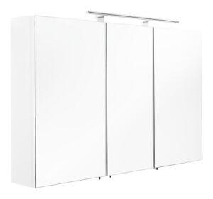 Badezimmer Spiegelschrank ANTON in weiß mit LED-Beleuchtung ...
