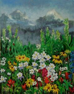 Landscape-Spring-Wild-Flowers-NATURE-MOUNTAINS-ORIGINAL-OIL-PAINTING-Yary-Dluhos
