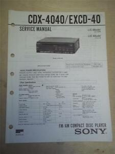 sony service manual cdx 4040 excd 40 cd compact disc player tuner rh ebay com Sony Xplod Deck Wiring-Diagram Sony Deck Wiring-Diagram