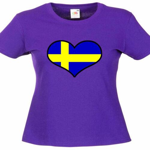 Sweden Love Heart Flag Ladies Lady Fit T Shirt 13 Colours Size 6-16