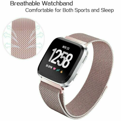 Magnetic Metal Band Stainless Steel Wrist Band Strap For Fitbit Versa 1 /& 2 Lite