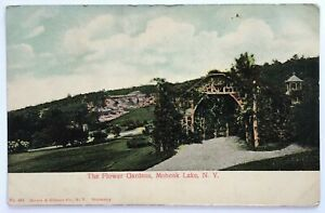 Postcard-Mohonk-Lake-NY-Ulster-County-The-Flower-Gardens-1900-039-s-1906-Undivided