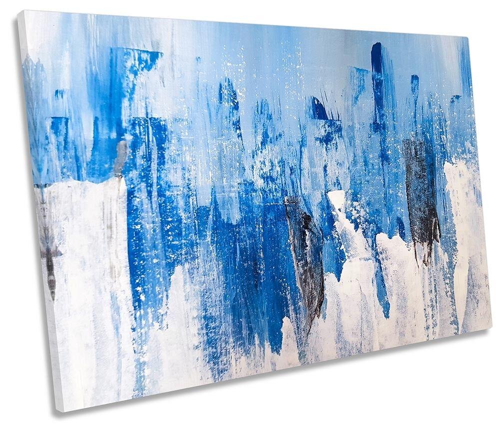 Blau Grunge Abstract SINGLE CANVAS WALL ARTWORK Print Art