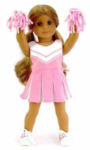 990bb24d943 Details about Pink & White Cheer Leader with Pom Poms for 18 inch American  Girl Doll Clothes