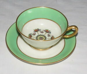 Lenox-Vintage-Cup-amp-Saucer-X-106-G-Green-Gold-Flowers
