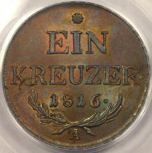 1816-A-Austria-Kreuzer-PCGS-MS64-RARE-BU-Coin