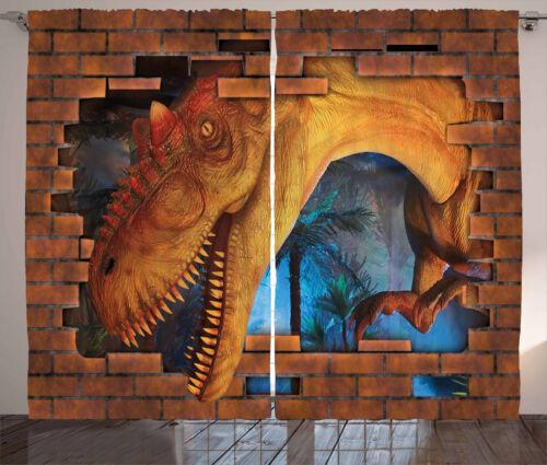 Dinosaur Curtains Dino Breaks Brick Wall Window Drapes 2 Panel Set 108x84 Inches
