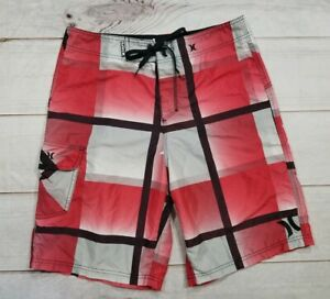4b26a0f94e0e6 Hurley Mens Board Shorts Swim Surf Trunks Red White Black Size 30/31 ...