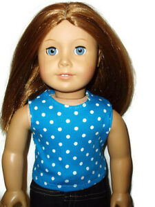 Tank-Top-fits-American-Girl-Dolls-18-034-Doll-Clothes-Blue-with-White-Polka-Dots