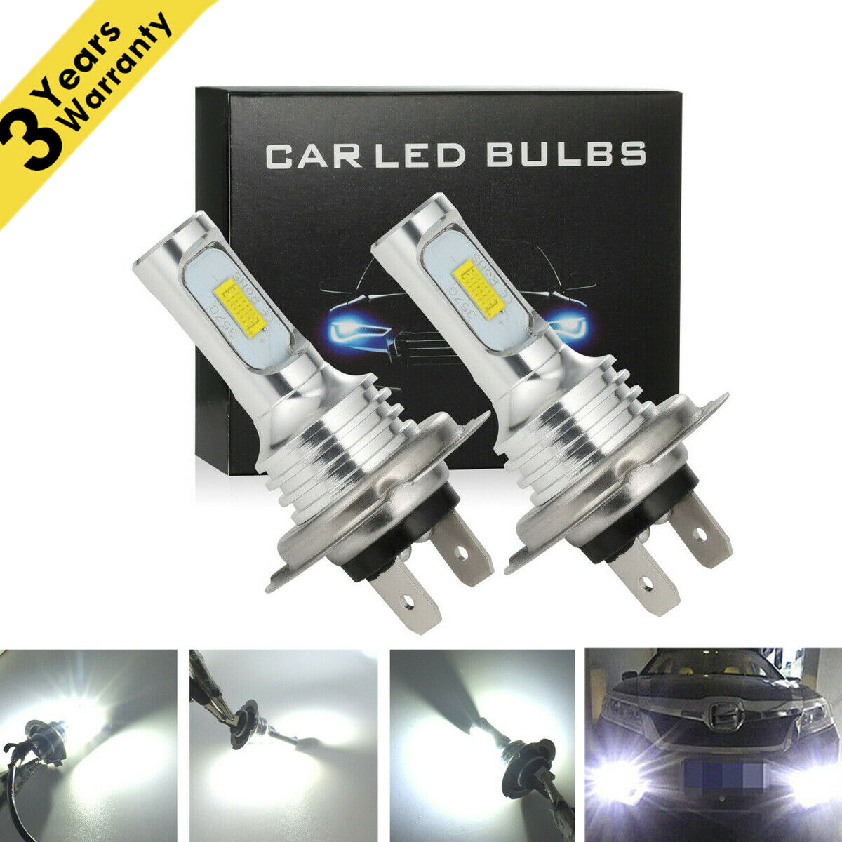 2x 50W 4000LM LED Motorcycle Headlight Conversion Kit 6000K HID White Bulb H7