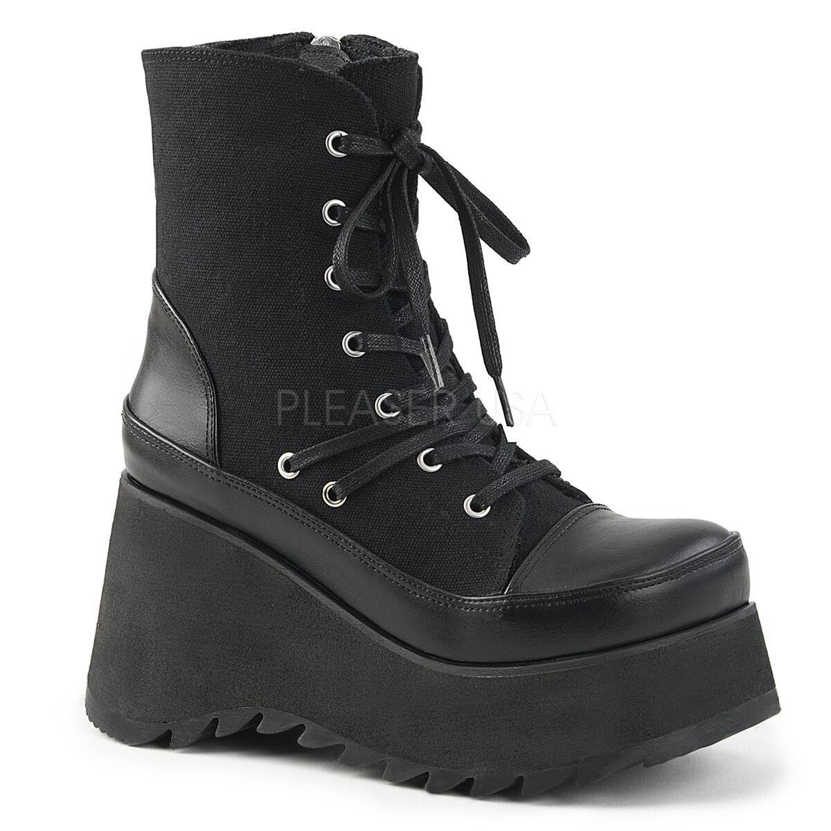 Demonia 3.5  Wedge Canvas Laced Platform Vegan Ankle stivali Punk Goth 6-11