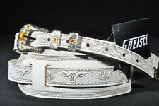 #922-0026-000 WHITE NEW Gretsch Vintage Tooled Leather Guitar Strap