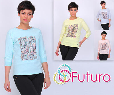 Casual Top With Patchwork 3//4 Sleeve Crew Neck Jumper Tunic Size 8-12 FT1755
