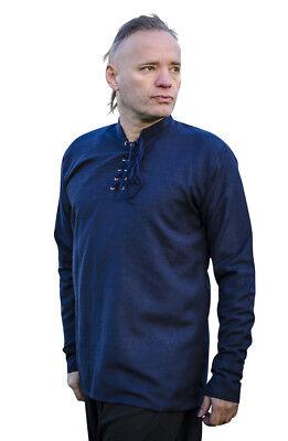 """Camicia Uomo Medievale Larp Pirata Hippie 100% Cotone 6 Colori Sul Petto Taglia 34"""" -48""""-mostra Il Titolo Originale"""