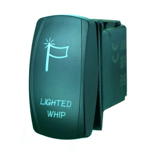 GREEN ROCKER SWITCH LASER ETCHED 20A 12V LIGHTED WHIP UTV ATV