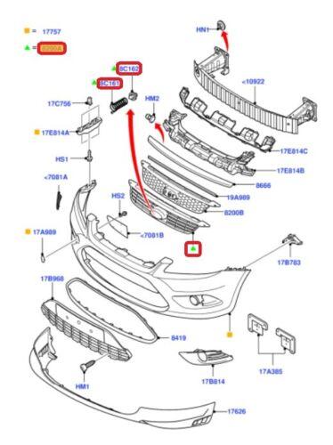 NEUF origine Ford Focus 08-11 pare choc Avant Centre Principal Grille Radiateur 1676410
