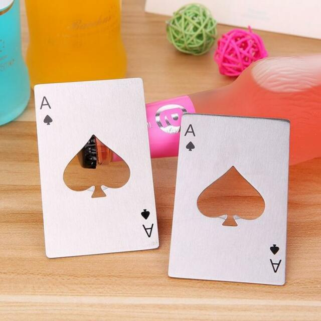 Bar Tool Bottle Soda Beer Cap Opener Playing Card Ace of Spades Poker Stainless