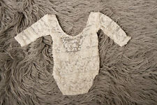 Photo shoot Prop,Newborn Baby Girl STRETCH  Ivory Long Sleeved Romper  low back