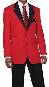Amiable Men's 2pc Poplin Dacron Two Button Fashion Suit 7022 Solid Red/black Men's Clothing