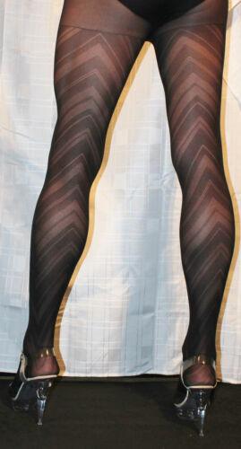 Chevron Design High Quality Black Tights One Size Semi Opaque