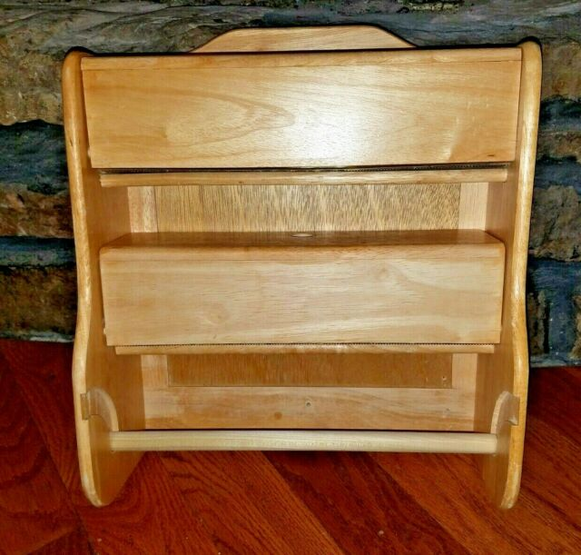 Oak Wood Kitchen Paper Cabinet, Foil, Wax, saran wrap w ...