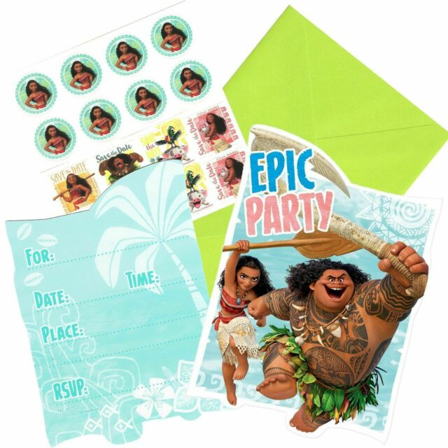 DISNEY MOANA INVITATIONS PACK OF 8 BIRTHDAY PARTY SUPPLIES INVITES