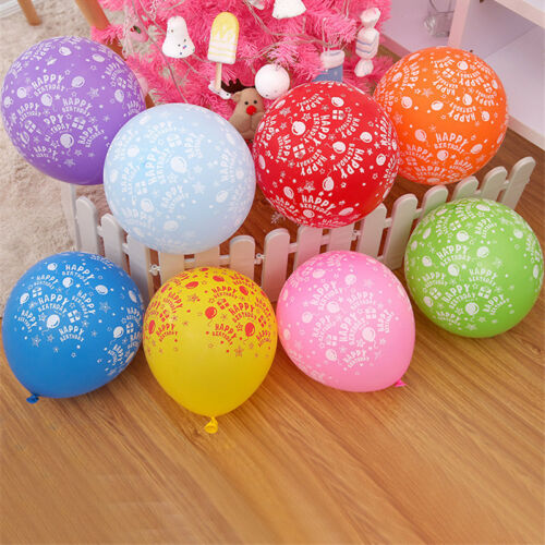"""10X12/""""INCH HAPPY BIRTHDAY MIX PRINT LATEX HIGH QUALITY BALLOON DECORATED PARTY"""