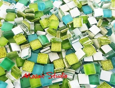 Mini Crystal Tiles 10x10mm -Green mix 400pc
