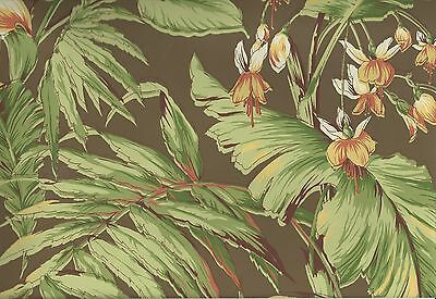 Wallpaper Designer Large Tropical Floral and Palm Leaves on Brown