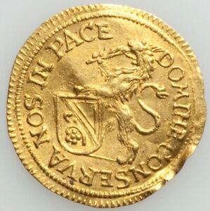 GORGEOUS-RARE-IRRESISTIBLE-1677-Swiss-gold-1-4-ducat-Zurich-Canton-XF-BENT