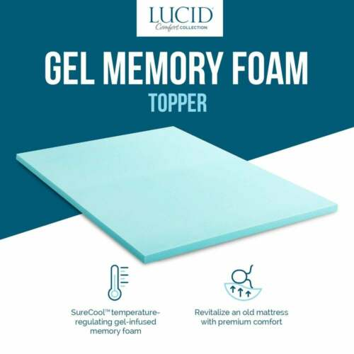 "NEW ~  COOL 4/"" LUCID LUXURY PLUSH SWIRL MEMORY FOAM GEL BED MATTRESS PAD TOPPER"