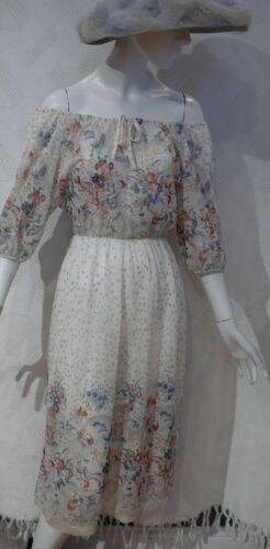 1970`s Soft Creamy Gauzy Floral Off the shoulder