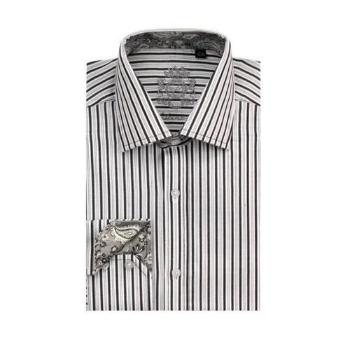Men/'s Classic Cotton Striped Casual Dress Shirt #612 Black /& White